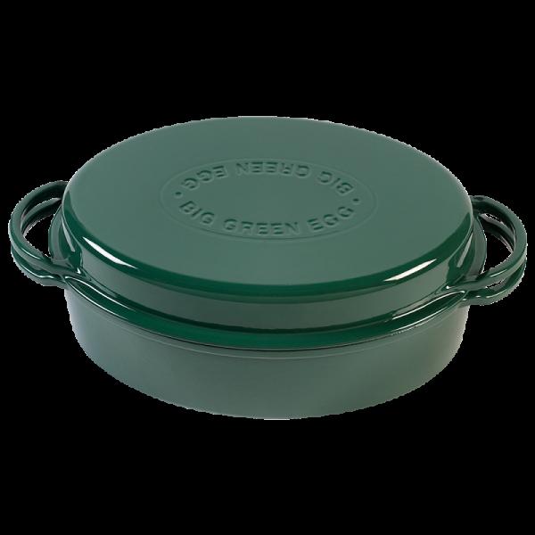 BGE Litoželezna ovalna emajlirana posoda GREEN DUTCH OVEN 5,2l
