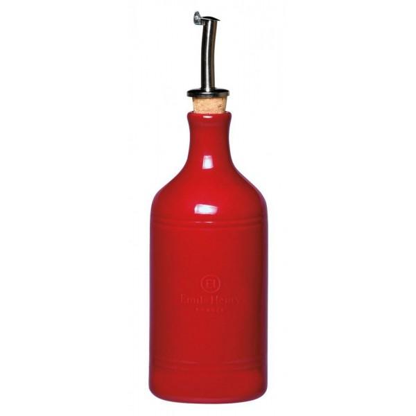 Emile Henry keramična steklenica za olje 0,45 l rdeča