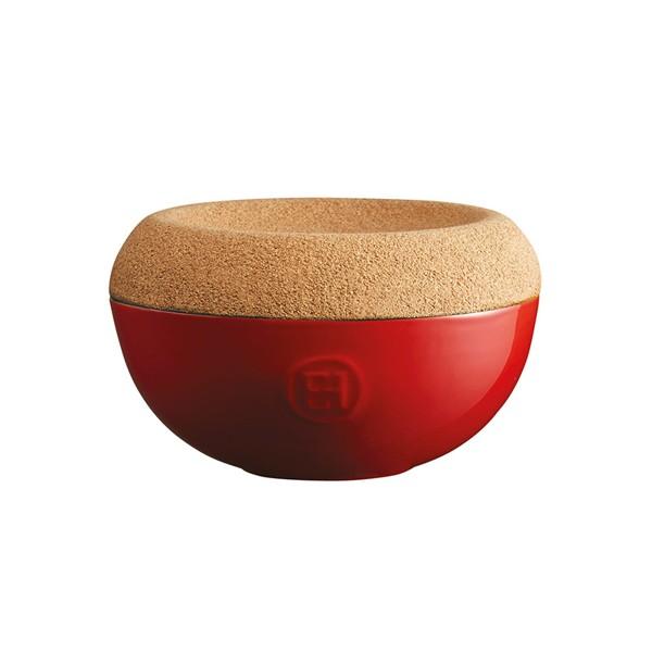 Emile Henry keramična posoda za sol s pokrovom iz plute, Rdeča