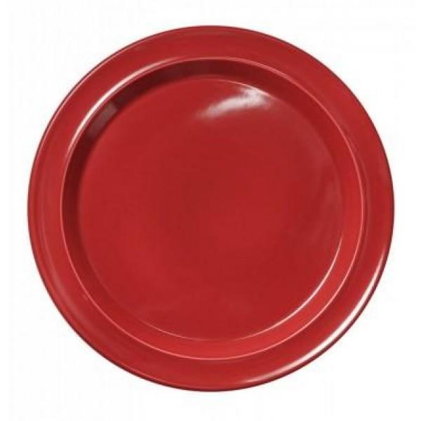 Emile Henry plitvi keramični krožnik premera 28 cm za jedi in serviranje Rdeči