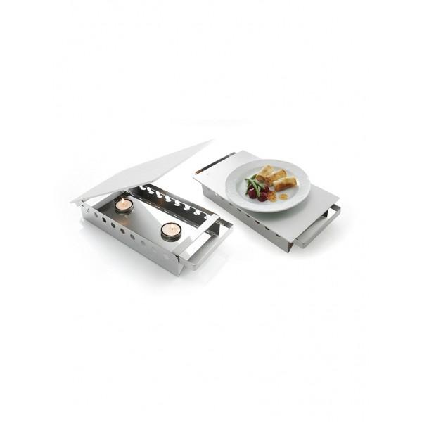 Namizni grelnik za hrano za dve svečki, 330 x 180 mm