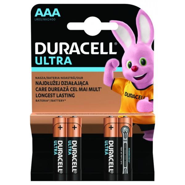 Duracell baterijski vložek Ultra Powercheck LR03 AAA 4 pak blister