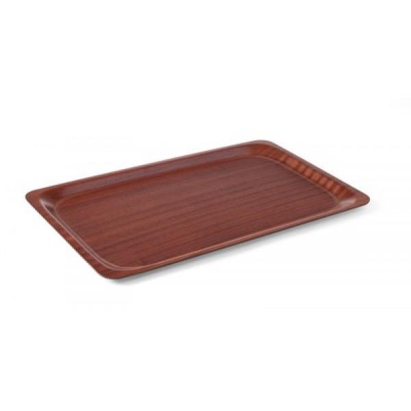 Servirni pladenj pravokotni 370 x 530 mm nedrsljiv z lesenim vzorcem