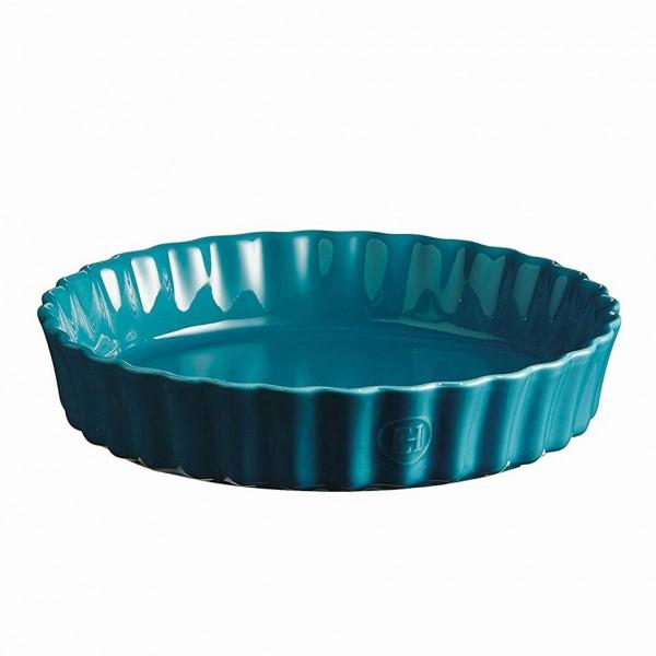 Emile Henry globoka keramična posoda za peko pit premera 28 cm Mediteransko modra