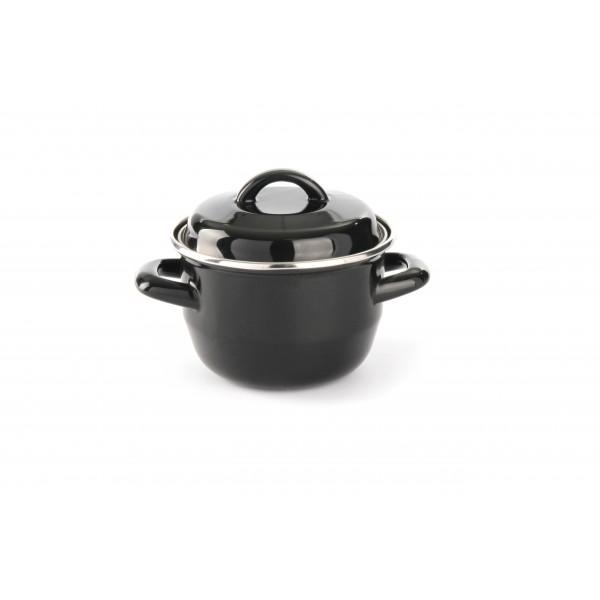 Posoda emajlirana s pokrovko 0,6 l za kuhanje juhe in omak Ø135 črna