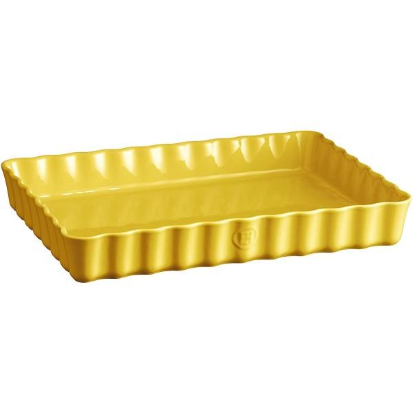 Emile Henry globoka pravokotna keramična posoda za peko pit 24x34 cm Provence rumena