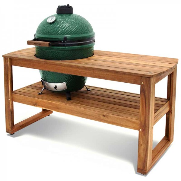 Miza iz lesa akacije na kolesih za Big Green Egg model Large