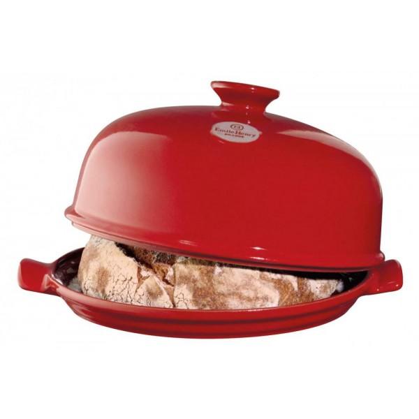 Emile Henry keramična specialna posoda za peko kruha - CLOSHE 33,5x28,5x16 cm Rdeča
