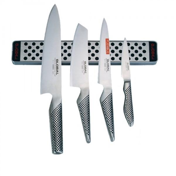 Global 5 delni SET 4 kuhinjskih vrhunskih nožev ter magnetna letev 30 cm