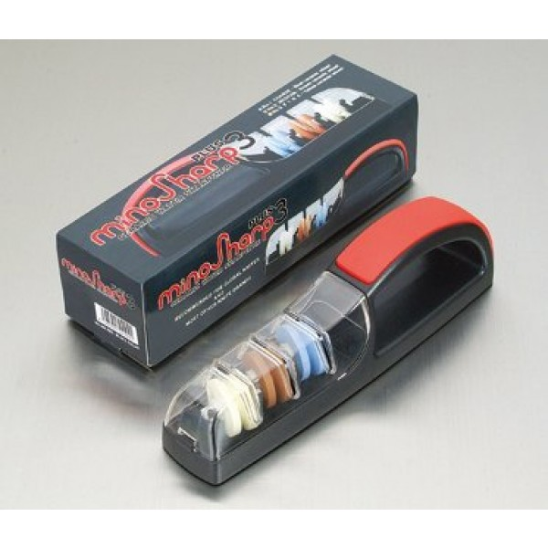 MinoSharp vrhunski keramični brusilnik za nože 550 BR Plus3 rdeče / črn