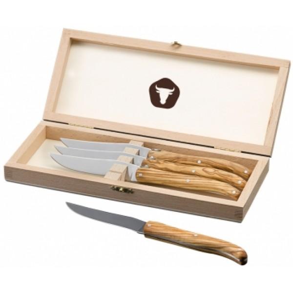 SET 4 Steak nožev v leseni škatli za shranjevanje