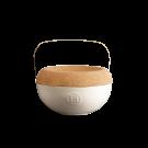 Emile Henry keramična posoda za sol s pokrovom iz plute, Peščena