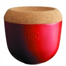 Emile Henry keramična posoda za česen s pokrovom iz plute, Rdeča