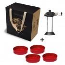 Emile Henry darilni SET za Crème brulee, 4x keramične posodice Rdeče + Gorilnik