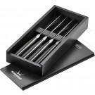 Roesle komplet 4 nožev za steak z rezilom 11 cm v leseni škatli - Črni