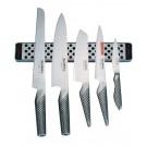Global 6 delni SET 5 kuhinjskih vrhunskih nožev + magnetna letev 30 cm