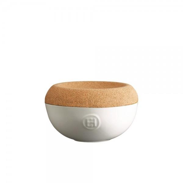 Emile Henry keramična posoda za sol s pokrovom iz plute, bela