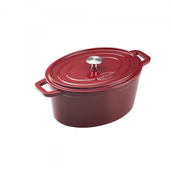 Roesle litoželezna ovalna posoda emajlirana 6l, 31x23 cm Krem / Temno Rdeča