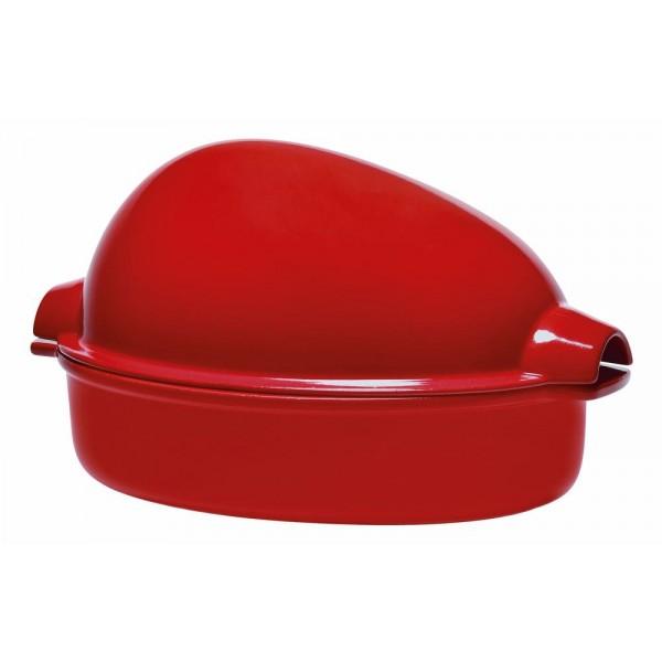 Emile Henry keramična posoda za peko piščanca ali pečenke Rdeča