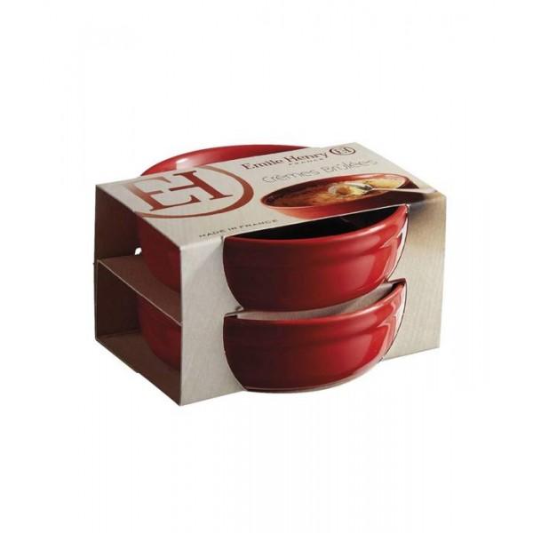 Emile Henry Keramične posode za Creme Brulee 12 cm Rdeča 2 pak
