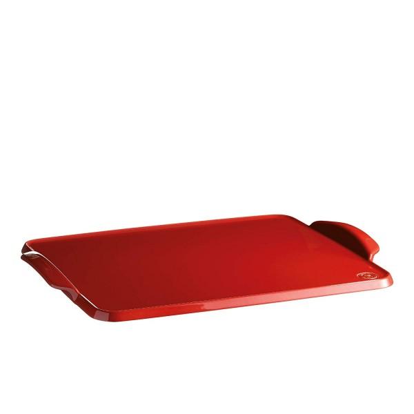 Emile Henry ploski pekač za peko - Plancha 41,5 x 31,5 cm Rdeča