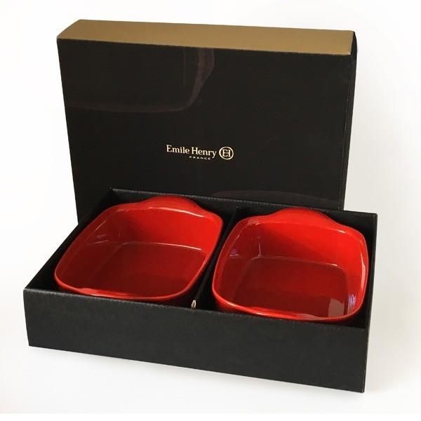 Emile Henry Darilni SET dveh keramičnih pekačev rdeči
