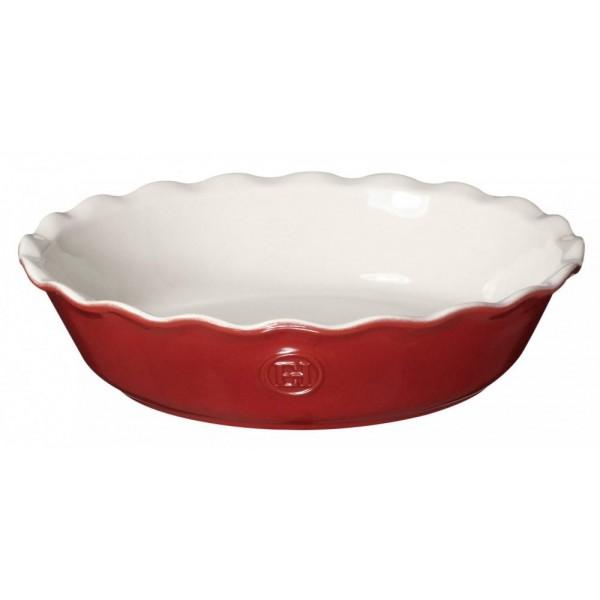 Emile Henry keramična posoda za peko pit premera 26 cm Rdeče-Bela