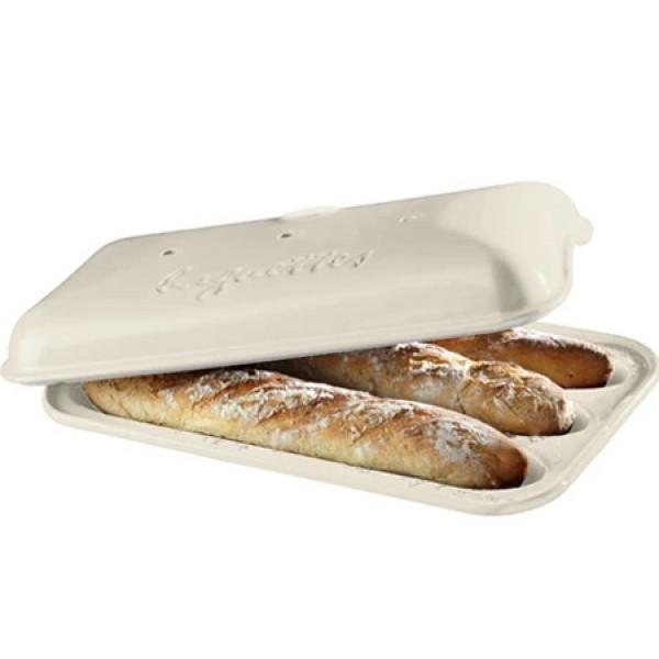 Emile Henry keramična specialna posoda za peko kruha - Baguett 39,5x23,5x8cm Peščena