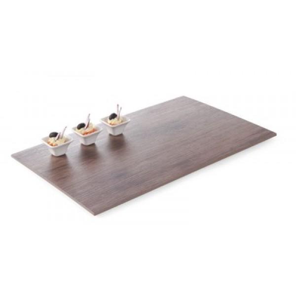 Pravokotni servirni pladenj iz Melamina 530x325 mm (GN 1/1) in lesnim dekorjem hrasta