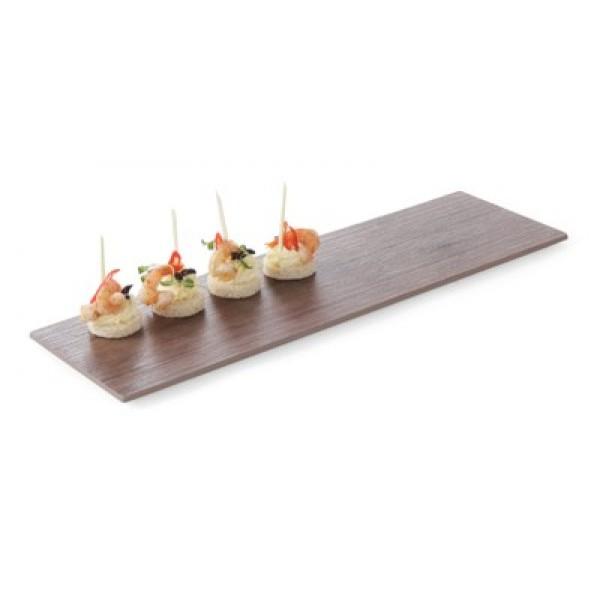 Pravokotni servirni pladenj iz Melamina 525x160 mm (GN 2/4) in lesnim dekorjem hrasta