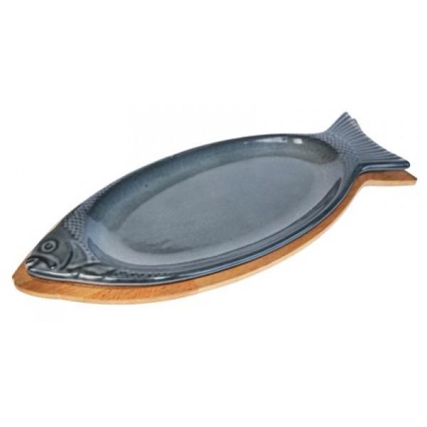 Litoželezna emajlirana posoda v obliki ribe 15x29 cm siva z lesenim podstavkom