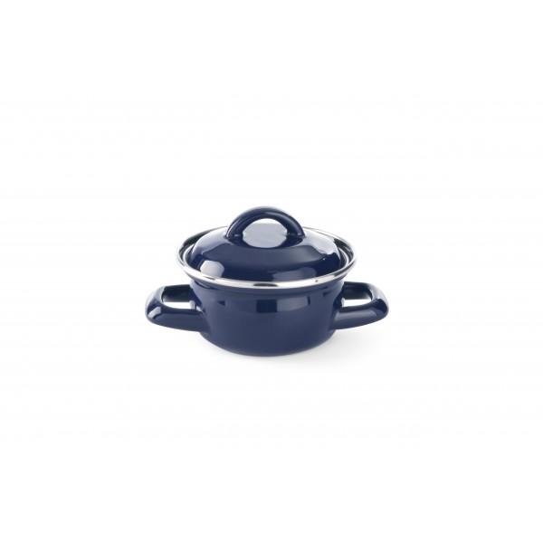 Posoda emajlirana s pokrovko 0,4 l za kuhanje juhe in omak Ø100 modra