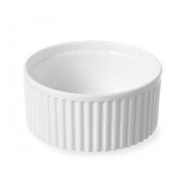 Remekin posodice premera 90 mm x 48 mm za peko iz belega porcelana