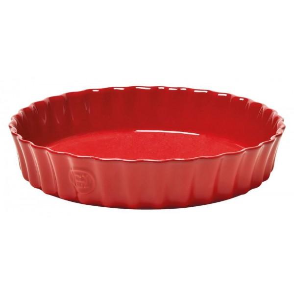 Emile Henry globoka keramična posoda za peko pit premera 28 cm Rdeča