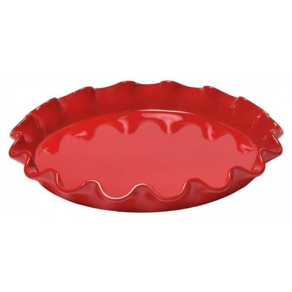 Emile Henry keramična posoda za peko pit premera 32 cm z valovitim robom Rdeča