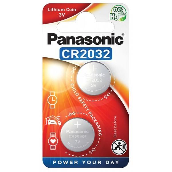Gumbna baterija CR 2032 litijeva Panasonic CR2032 225 mAh 3 V, 2 kos